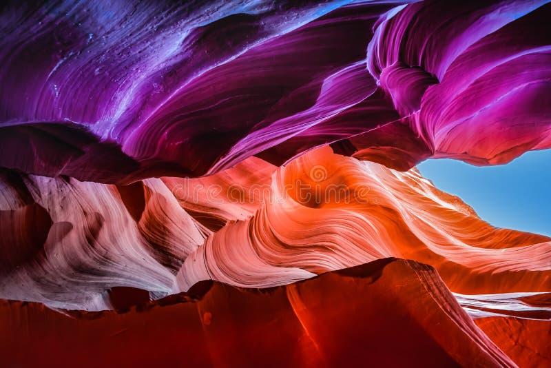 Mångfärgat bildande på antilopkanjonen nära sidan, Arizona royaltyfri fotografi