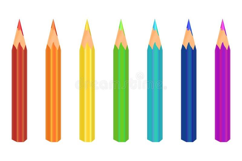 Mångfärgat ritar Sju färger är röda, orange, gulnar, gör grön, slösar, slösar, lilor vektor royaltyfri foto