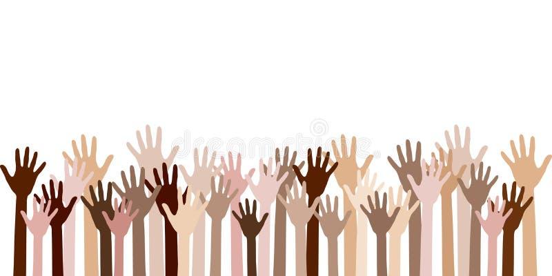 Mångfald av mänskliga händer lyftte vektor illustrationer