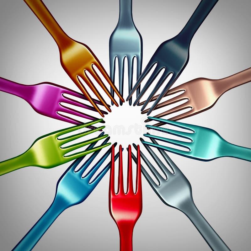 Mångfald i mat vektor illustrationer