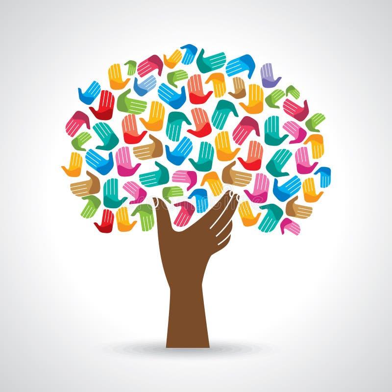 mångfaldträdet räcker illustrationen vektor illustrationer