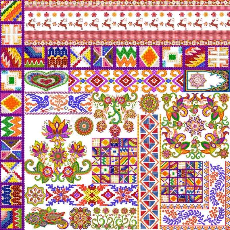 Mångkulturell blom- abstrakt matta stock illustrationer