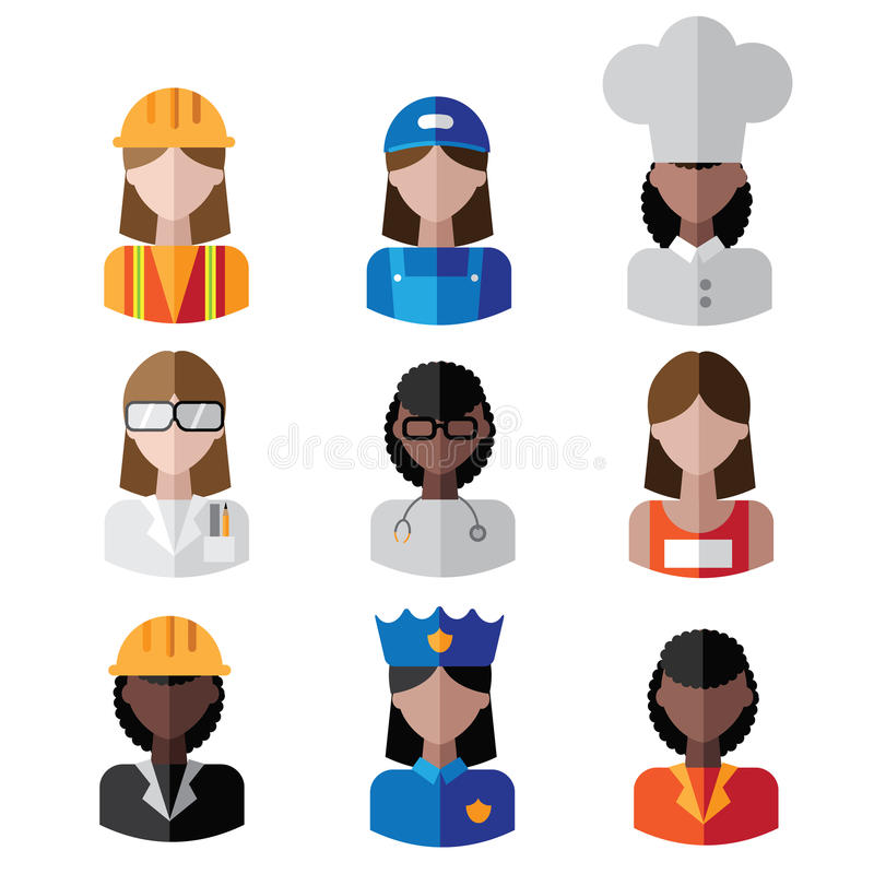 Mångkulturell kvinnlig yrkesymbolsuppsättning royaltyfri illustrationer