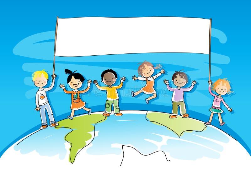 mångkulturella barn vektor illustrationer