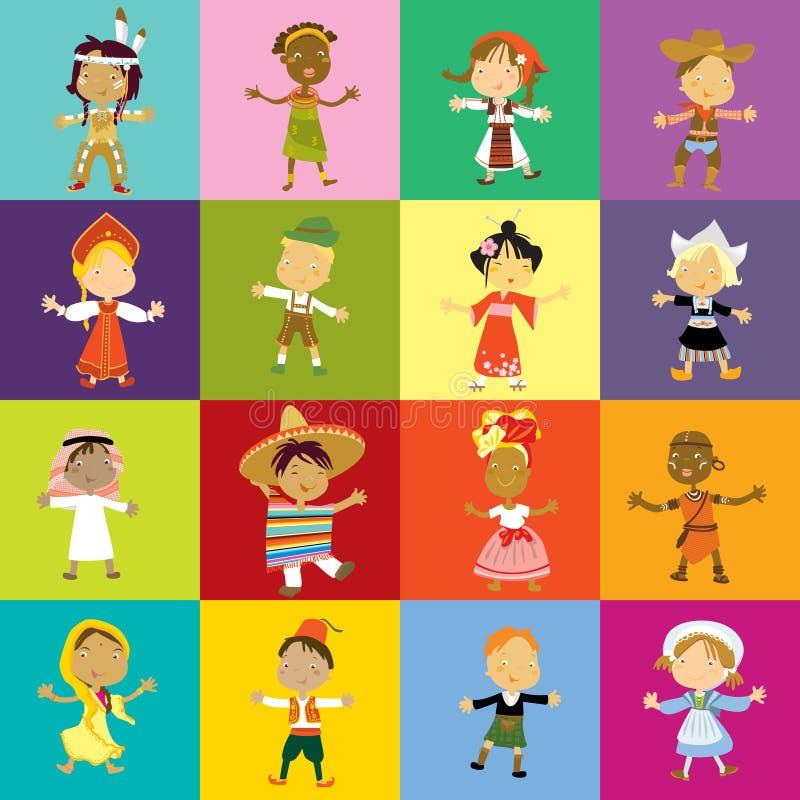 mångkulturella barn stock illustrationer