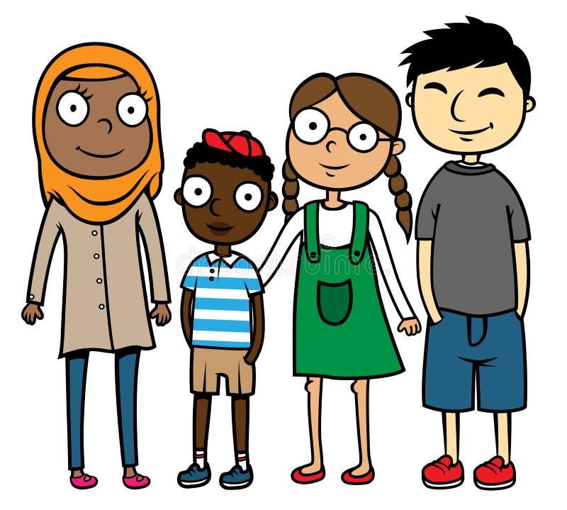 Mångkulturella blandras- barn för tecknad filmillustration royaltyfri illustrationer