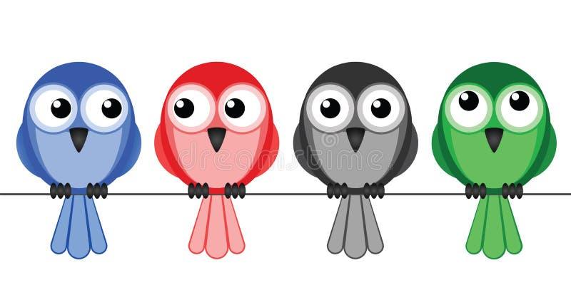 mångkulturella fåglar stock illustrationer