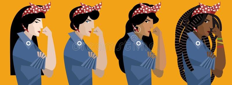 Mångkulturella feministiska flickor stock illustrationer
