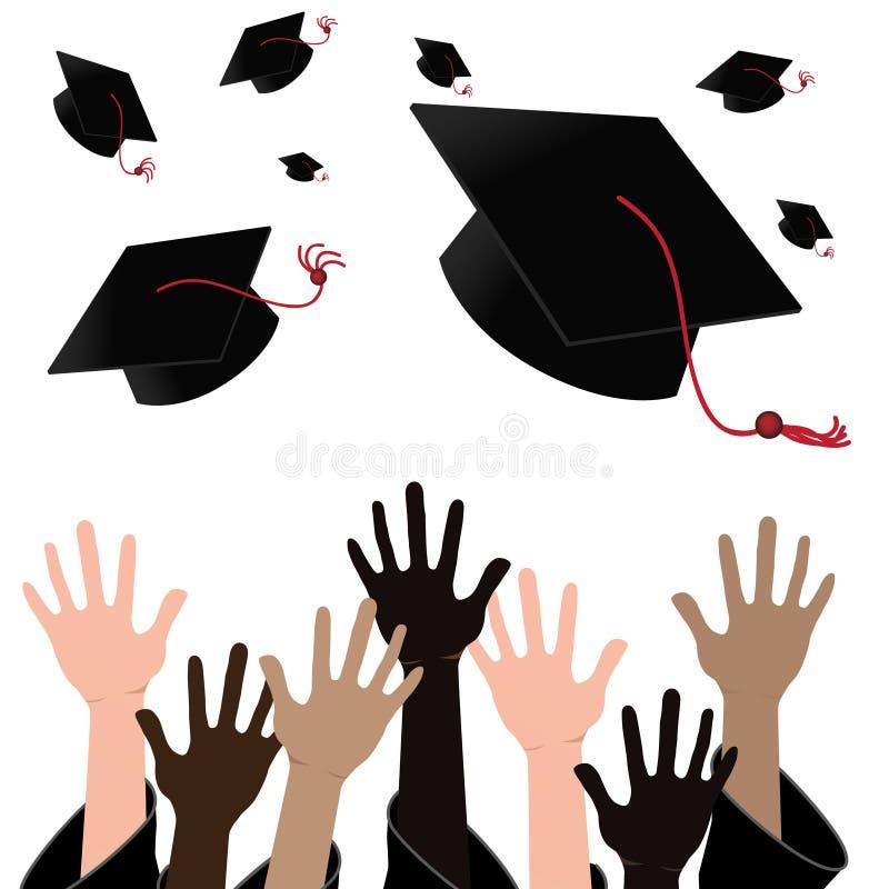 Mångkulturella händer som kastar akademikermössor stock illustrationer