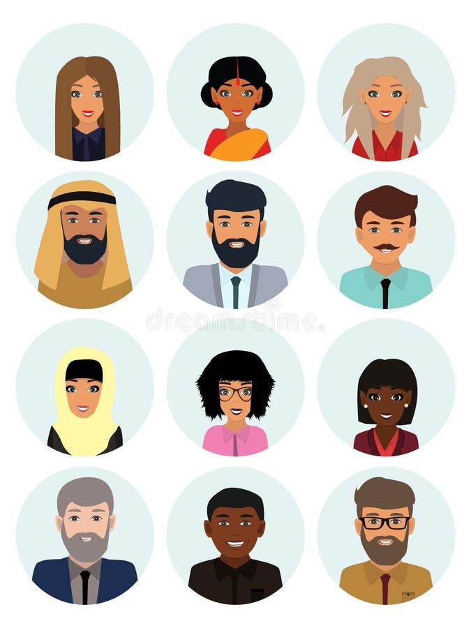 Mångkulturella samhällebegrepps-, man- och kvinnatecken Plan symbolsuppsättning också vektor för coreldrawillustration stock illustrationer