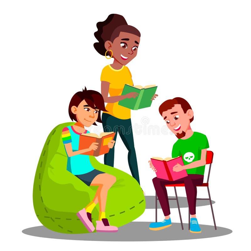 Mångkulturella studentGroup Boys And flickor som läser deras bokvektor isolerad knapphandillustration skjuta s-startkvinnan vektor illustrationer