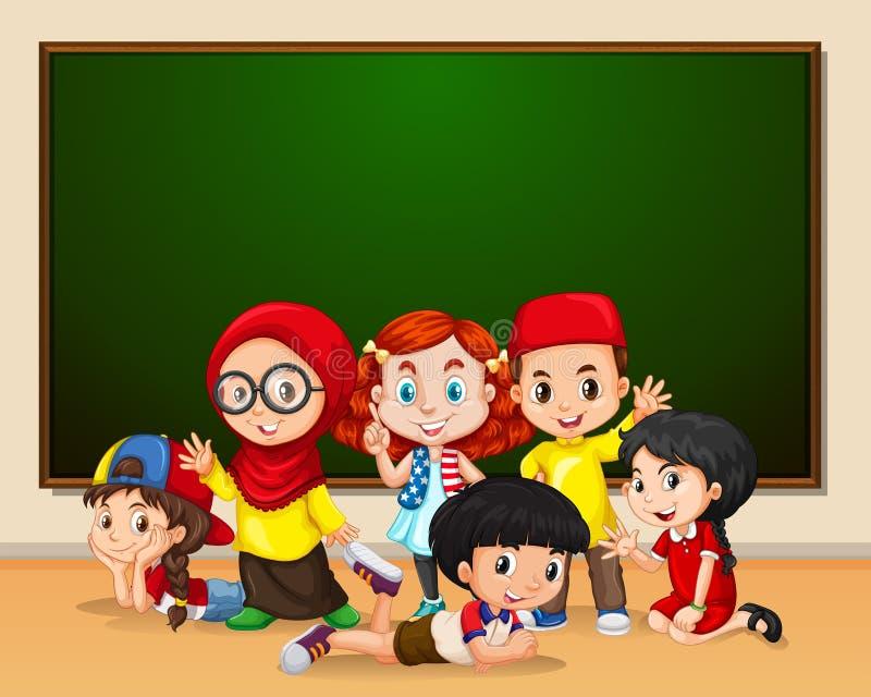 Mångkulturella ungar på skolan royaltyfri illustrationer