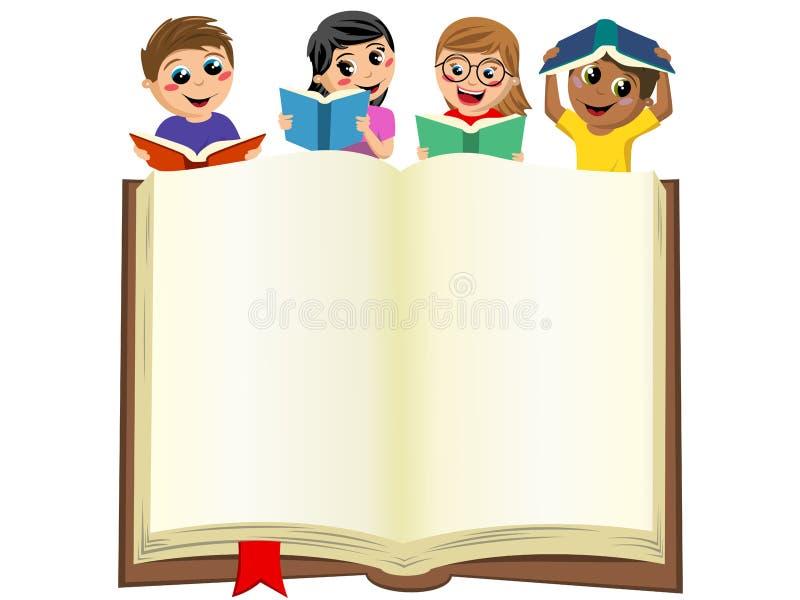 Mångkulturella ungebarn som spelar att läsa bak den isolerade öppna stora boken för mellanrum royaltyfri illustrationer