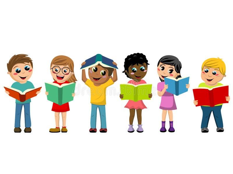 Mångkulturella ungebarn som spelar isolerade läseböcker stock illustrationer