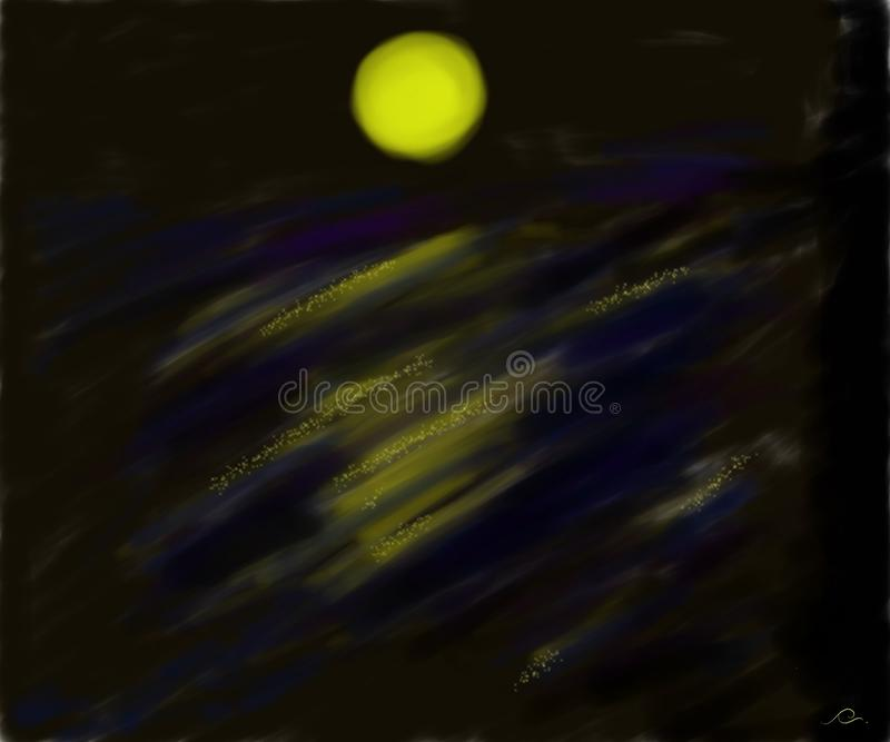 Månsken över vattenfallet i den mörka natten stock illustrationer