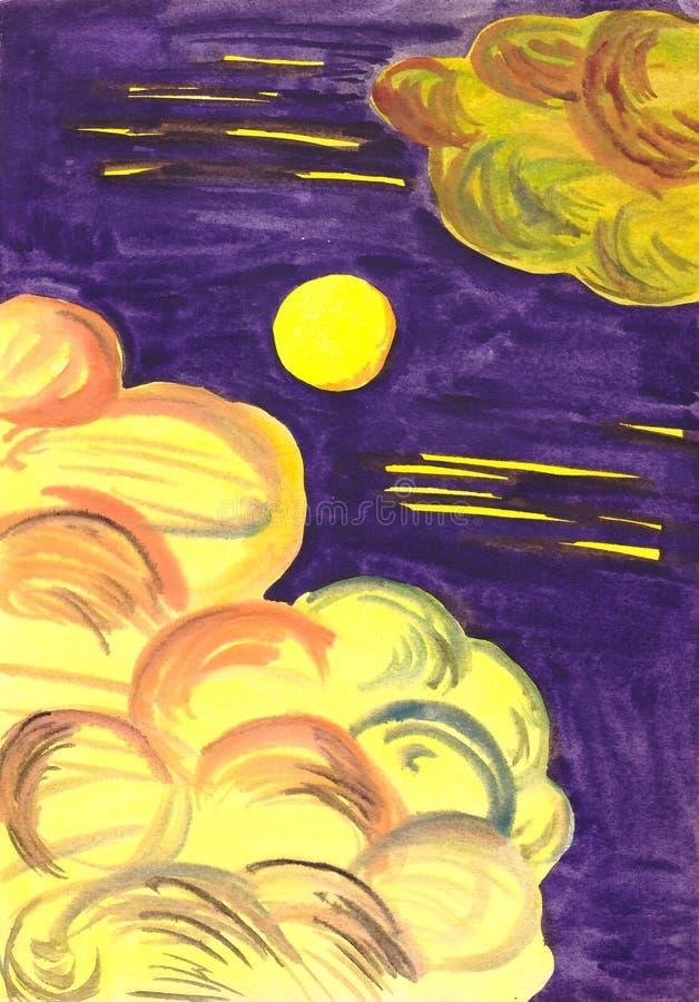 Månsken i molnen arkivbild