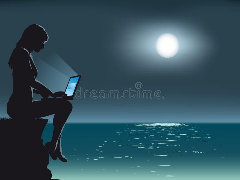 månskenanteckningsbok stock illustrationer