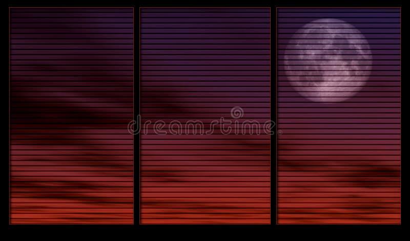 månskenfönster stock illustrationer