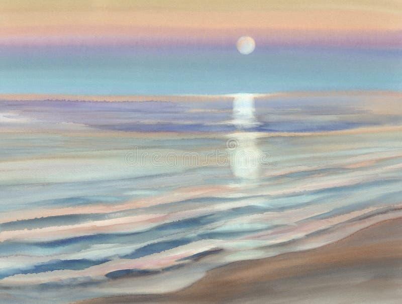 Månskenseascapevattenfärg vektor illustrationer