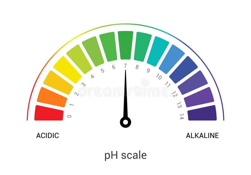 Mått för diagram för diagram för PH-skalaindikator acidic alkaliskt prov för värde för skala för pH-analysvektor kemiskt stock illustrationer