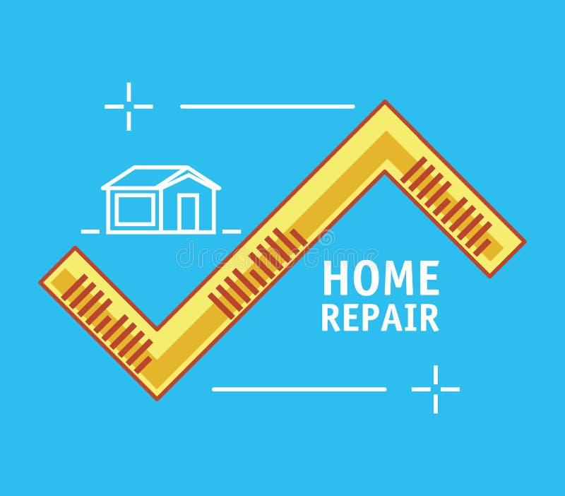 Måttband med hem- reparationssymboler stock illustrationer