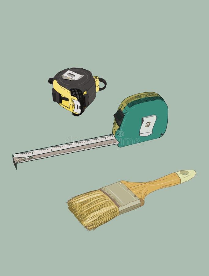 Måttbandet och målarfärgborsten, hjälpmedel skissar vektorn royaltyfri illustrationer