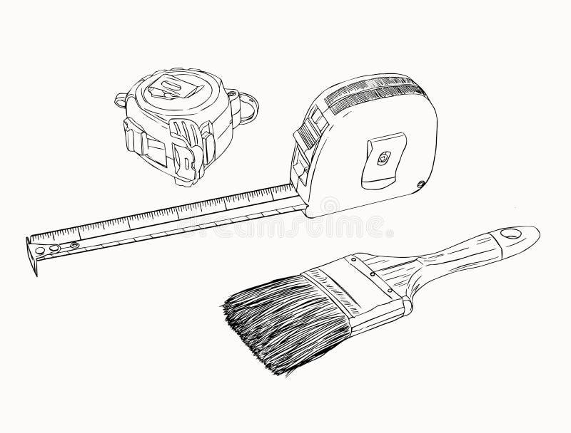Måttbandet och målarfärgborsten, hjälpmedeluppsättning skissar vektorn royaltyfri illustrationer