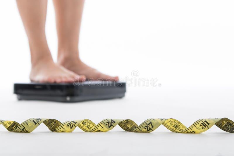 Måttskala för kontroll din vikt royaltyfri bild