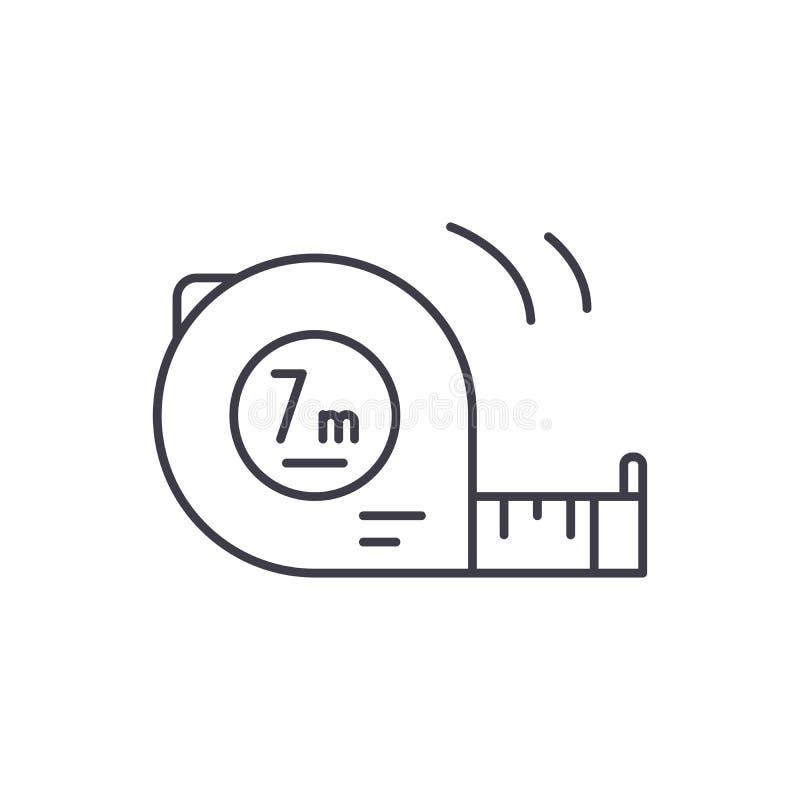 Måttstocklinje symbolsbegrepp Linjär illustration för måttstockvektor, symbol, tecken vektor illustrationer