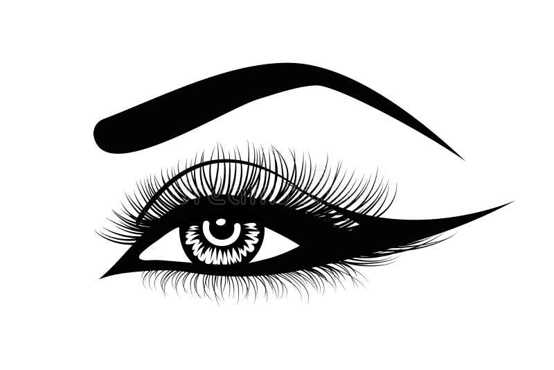 Mèches d'oeil de vecteur Oeil luxueux sexy tiré par la main de la femme s avec les sourcils parfaitement formés et les pleines mè illustration de vecteur