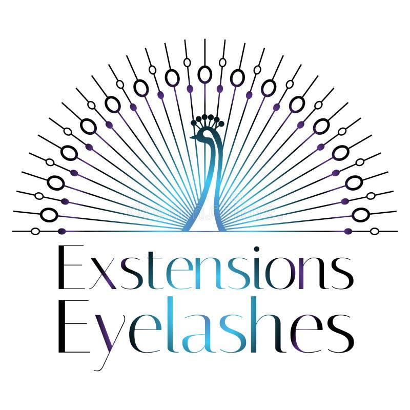 Mèches, sourcils, logo de maquillage, signe, symbole pour le salon cosmétique, magasin de beauté, maquilleur, paon, style origina illustration stock