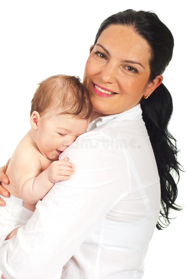 Mère étreignant son fils nouveau-né photos stock