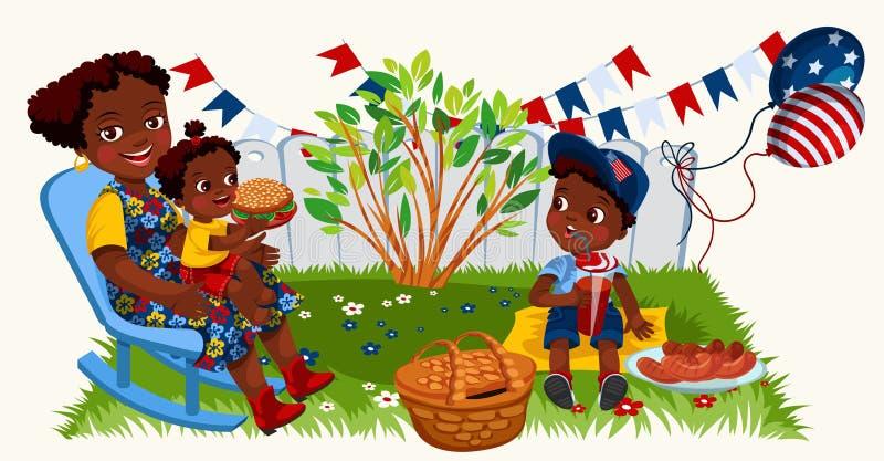 Mère américaine latine avec des enfants appréciant le pique-nique dans le jardin illustration de vecteur