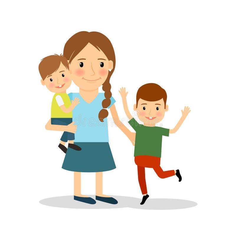 Mère avec des enfants Jeune femme et deux garçons illustration de vecteur
