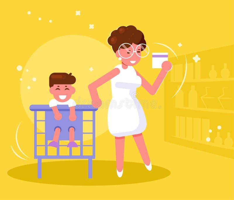 Mère avec l'enfant dans le vecteur de supermarché cartoon D'isolement illustration de vecteur