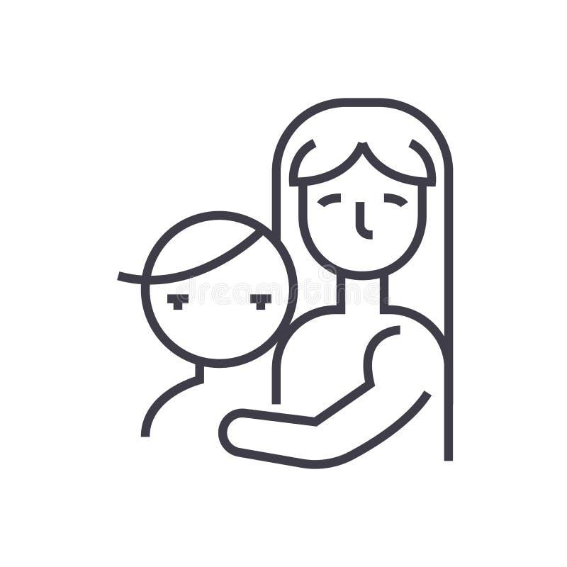 Mère avec l'enfant, ligne icône, signe, illustration de vecteur de maternité sur le fond, courses editable illustration de vecteur
