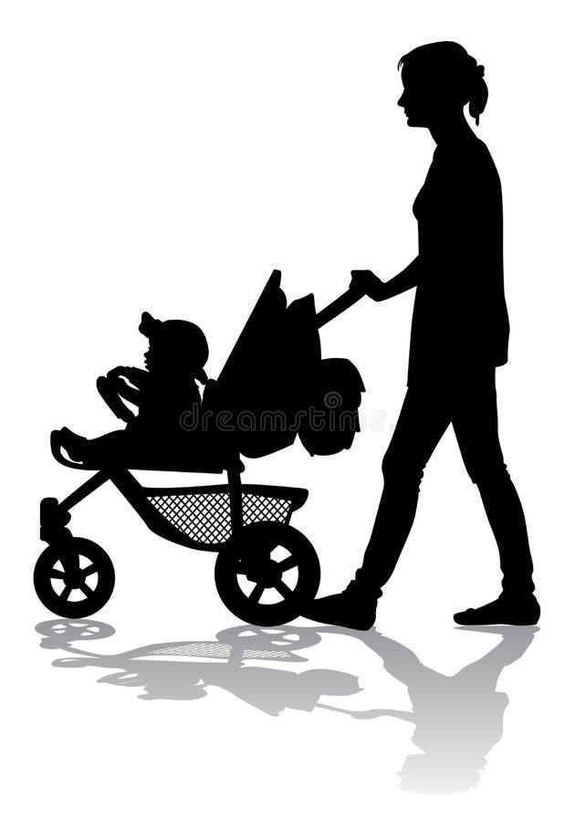 Mère avec l'enfant sur la promenade illustration de vecteur