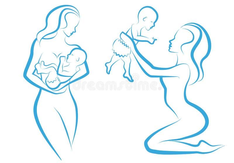 Mère avec la chéri,   illustration libre de droits