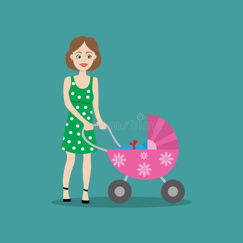 Mère avec le bébé dans la poussette pour une promenade illustration stock