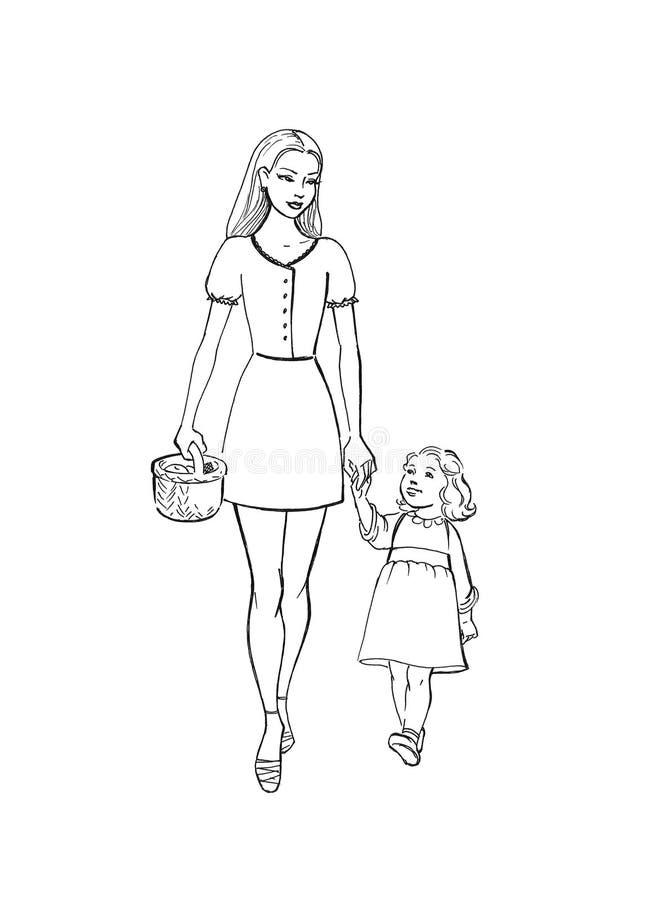 Mère avec le descendant illustration de vecteur