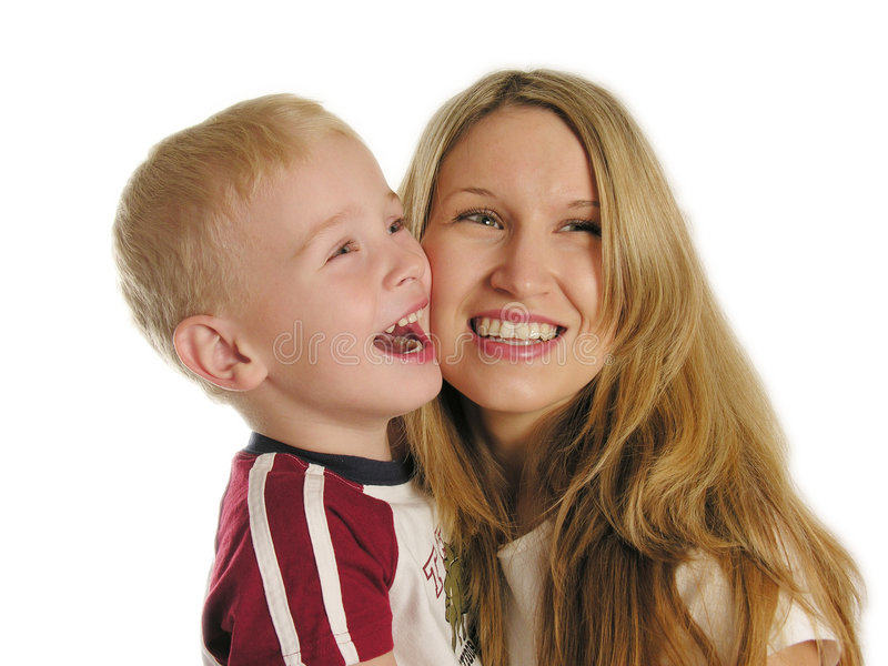 Mère avec le sourire d'enfant images libres de droits