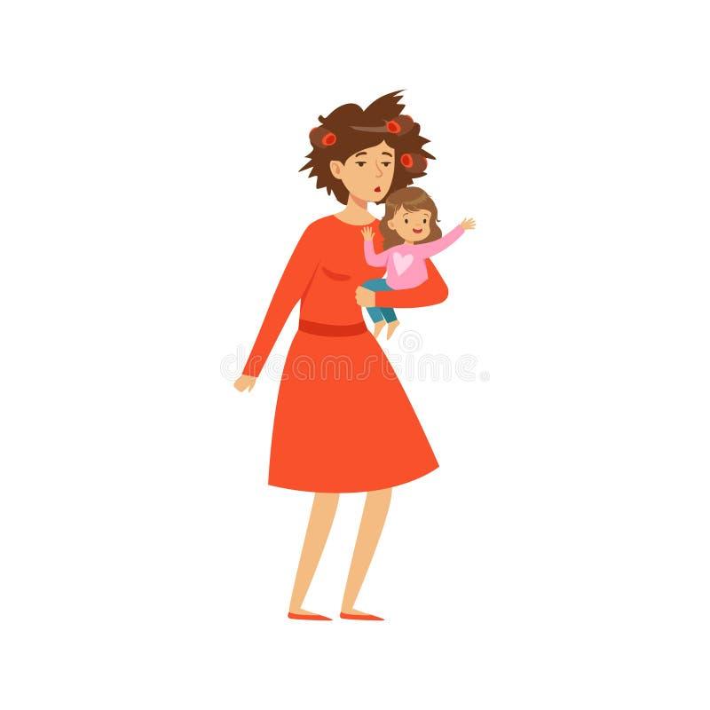 Mère avec les cheveux en désordre tenant sa petite fille illustration de vecteur