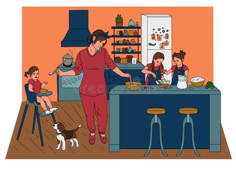 Mère avec trois filles dans la cuisine préparant pour manger l'amour de mère illustration stock
