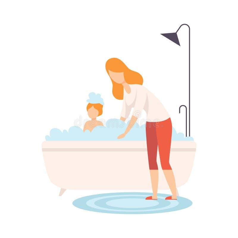 Mère baignant son fils dans la baignoire avec plein de la mousse, du parent et de son fils dans l'illustration de vecteur de vie  illustration libre de droits