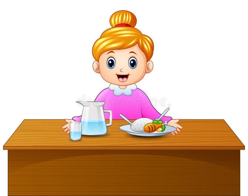 Mère d'une chevelure blonde heureuse de bande dessinée et nourriture saine sur la table de salle à manger illustration stock