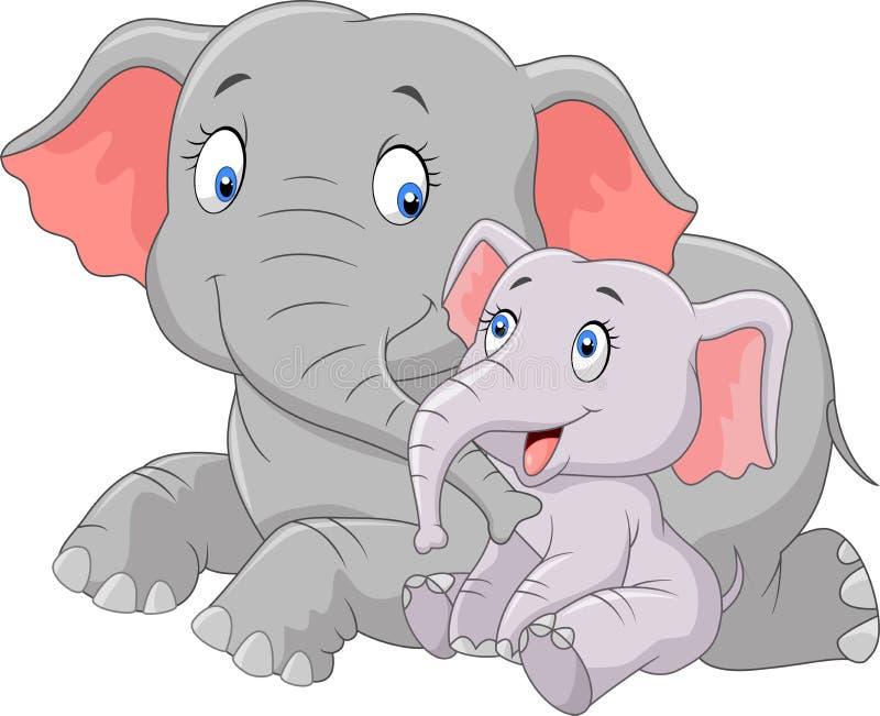 Mère de bande dessinée et éléphant mignons de bébé illustration de vecteur