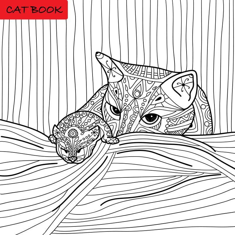 Mère de chat et son chaton - livre de coloriage pour des adultes - livre de chat de zentangle illustration de vecteur