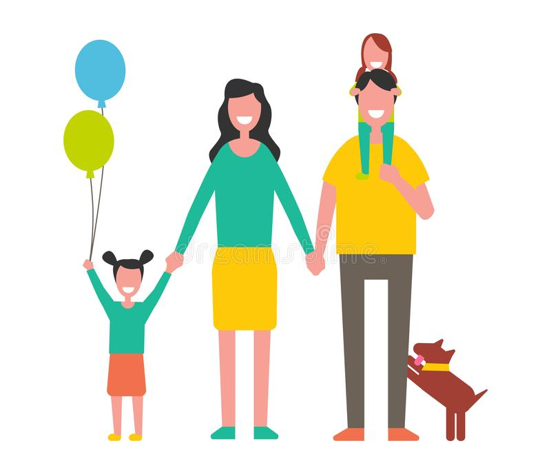 Mère de famille, père Two Daughters et chien heureux illustration stock