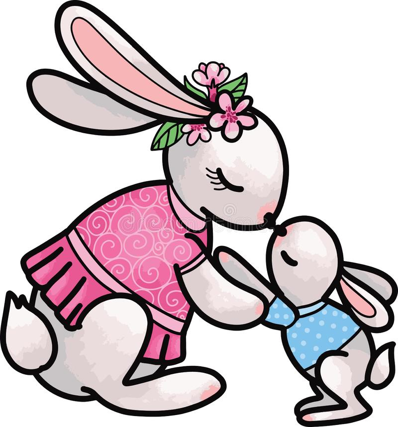 Mère de lapin avec son petit lapin de fiston, caractères mous mignons d'isolement sur la maman blanche et douce et le concept de  illustration stock