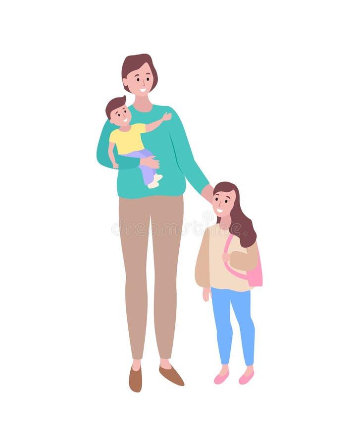Mère de soin avec la fille de fils marchant ensemble illustration stock
